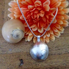 Recycled silver shell pendant and chain