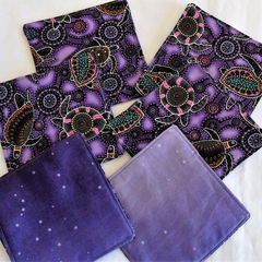 Quilted Aboriginal dot art purple turtle fabric coasters, set of 6
