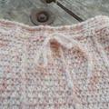 crocheted baby sleeping or pram cocoon. mohair acrylic blend yarn pale pink