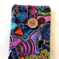 Quilted authentic Australian  Aboriginal art fabric eye glass case, purple kanga