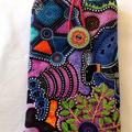 Quilted authentic Australian  Aboriginal art fabric eye glass case, purple kanga
