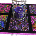 Aboriginal art fabric patchwork table runner or wall hanging