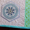 Quilted Embroidered Patchwork Table Topper, turquoise, blue and white candle mat
