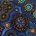 A mix of 6 Quilted Aboriginal dot art fabric coasters, purple and blue