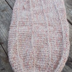 crocheted baby sleeping or pram cocoon. mohair acrylic blend yarn pale pink