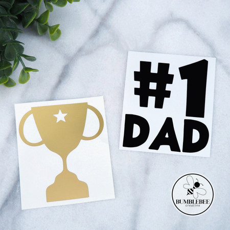 No #1 Dad Father's Day Sticker Decal Vinyl Label and Gold Trophy 2 stickers