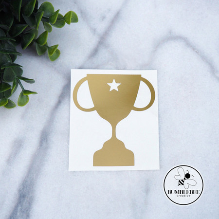Golden Trophy Father's Day Sticker Decal Vinyl Label Celebrate Winner