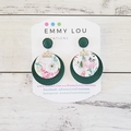 Double Layer Olive Green and Pink Floral Round Faux Leather Earrings with Studs