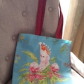 Raspberry Bright Feather Tote Bag with Long Handles