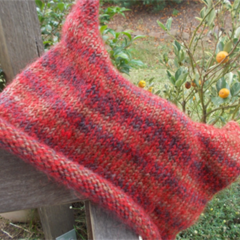 child's knitted pixie hat. Red and browns. made from wool/mohair ON SALE!!