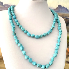 Blue TURQUOISE Long 120cm Knotted Versitile Necklace.