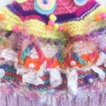 Colourful embellished knit hat for 3-6 year old girl. Textural.  Beaded.