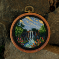 Tropical Waterfall Landscape, Hand embroidery in Hoop