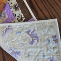 Patchwork quilted table runner, brown cream lilac table topper, floral runner