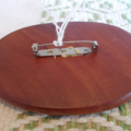 Brooch handcrafted from reclaimed hardwood and vintage stamp ON SALE!!!