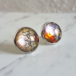 Round Lampwork glass stud earrings ( No.4, Simple Art deco Cute Modern Boho )