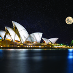 014 Stars and moon over opera house poster A4 Size