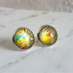 Round Lampwork glass stud earrings ( No.3, Simple Vintage Chic Classic Minimal )