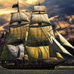 Sailing Ship with funnel poster A4 Size