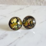Round Lampwork glass stud earrings ( No.1, Art deco Modern Elegant Chic Cool )