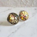 Round Lampwork glass stud earrings ( No.6, Gothic Formal Elegant Cool Chic )