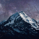 Stars over mountain poster A4 Size