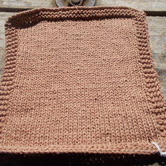 Square bamboo fibre washcloth in brown,  natural fibre