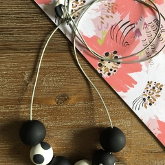 Handmade polymer clay necklace | Black and white | Polka dot