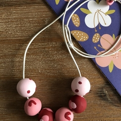 Handmade polymer clay necklace | Red and pink | Polka dot and boomerang