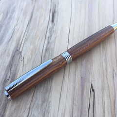 Streamline Pen, ballpoint, chrome, hand turned from Australian apricot tree.