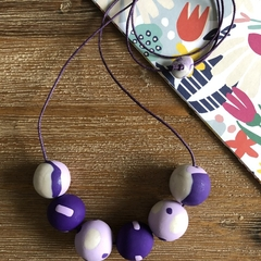 Handmade polymer clay necklace | Purple and pearl | Mixed polka dot and stripes