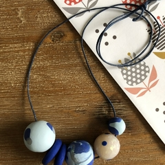 Handmade polymer clay necklace | Blue and opal | Polka dot and swirl