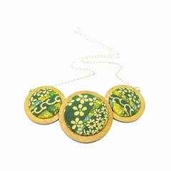 Three Disc Necklace - Green Blossoms