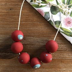 Handmade polymer clay necklace | Red and teal | Mixed Polka dot