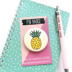 Pineapple Button Badge, Pineapple Pin Badge, Metal Pin Button - BGE011