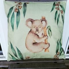 Australian Native Koala Cushion Cover, linen, size 45x45 cm