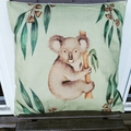 Australian Native Koala Cushion Cover, linen, size 45x45 cm