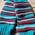 striped legwarmers - hand knitted in pure wool and acrylic yarns, size L