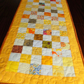 Patchwork Quilted yellow white and orange table runner, patchwork table decor