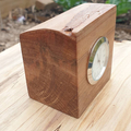 Small clock, chrome, made from Tasmanian myrtle.
