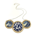 Three Disc Necklace - Blue Blossoms