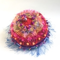 Colourful embellished knit hat for 7-14 years with beads, textures, embroidery.