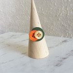 Chic Woodland statement Green Orange Beige button wire ring (Size AU size O,US7)