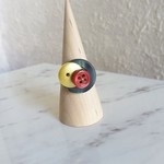 Chic Geometric Art deco Red Gold Green button wire ring (Size AU size N,US6 1/2)