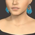 Faceted cone shaped aqua blue crystal earrings. Free postage