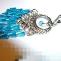 Faceted cone shaped aqua blue crystal earrings.Free postage
