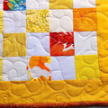 Patchwork Quilted yellow white and orange table runner, patchwork runner, Easter