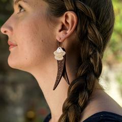 Flowering Gum Leaves, Laser Cut Wood & Acrylic Hoop Earrings