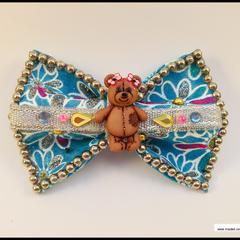 Teddy Bear Blue Hair Bow with Barrette Snap Clip.
