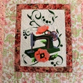 Classic Vintage sewing machine embroidered, quilted wall art, wall hanging